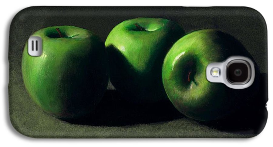 Still Life Galaxy S4 Case featuring the painting Three Green Apples by Frank Wilson