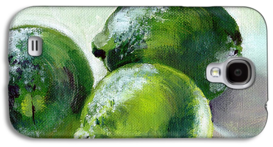 Food Galaxy S4 Case featuring the painting Three Limes by Sarah Lynch