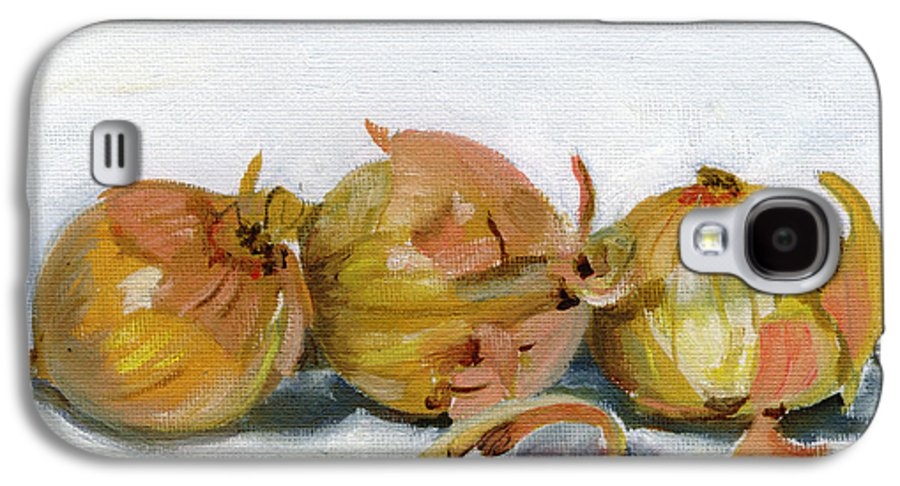 Food Galaxy S4 Case featuring the painting Three Onions by Sarah Lynch