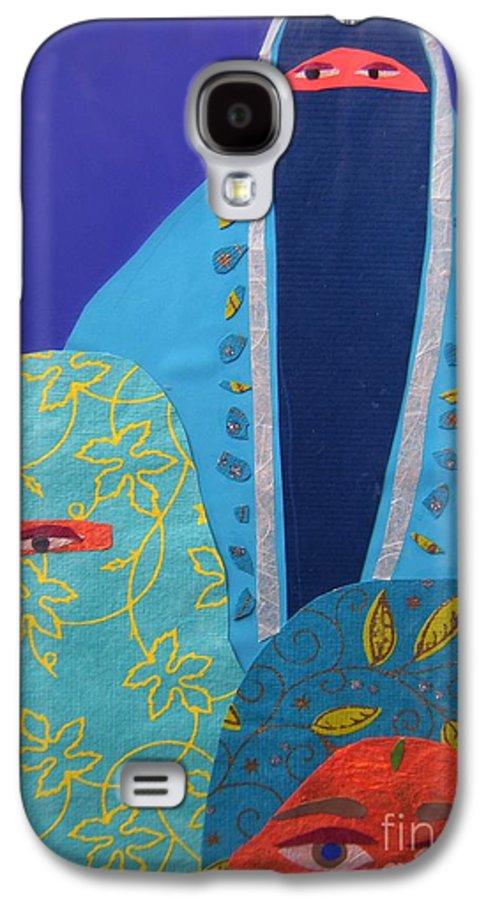 Women Galaxy S4 Case featuring the painting Three Women In Burkhas by Debra Bretton Robinson