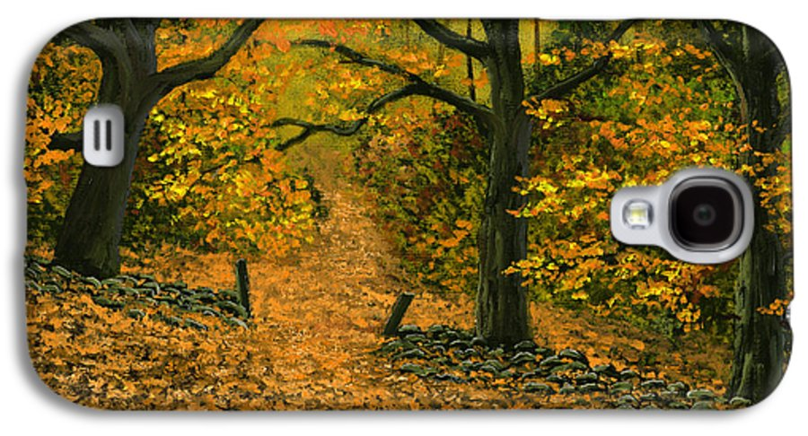 Landscape Galaxy S4 Case featuring the painting Through The Fallen Leaves by Frank Wilson