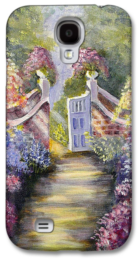 Flowers Galaxy S4 Case featuring the painting Through The Garden Gate by Quwatha Valentine