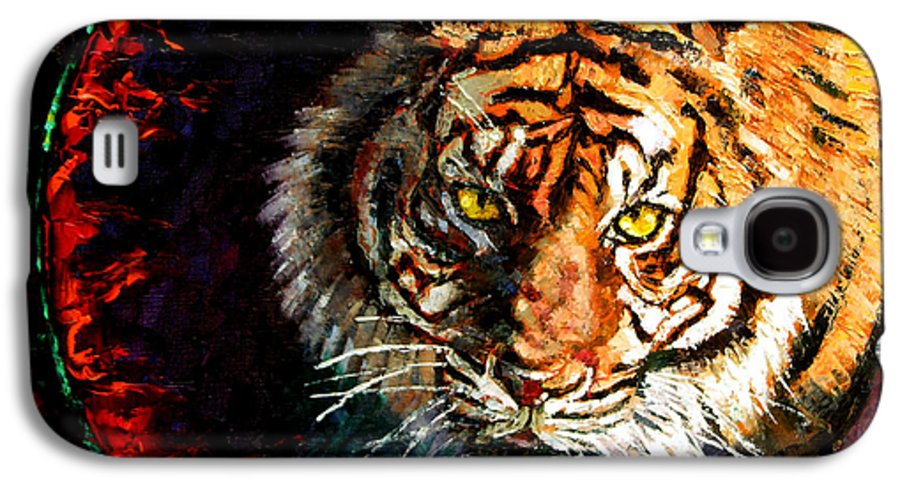 Tiger Galaxy S4 Case featuring the painting Through The Ring Of Fire by John Lautermilch