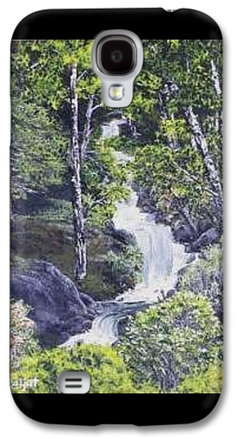 This Is A Lovely Waterfall We Saw On The Way Back Home From Mount Hood Oregon. Galaxy S4 Case featuring the painting Through The Woods by Darla Boljat