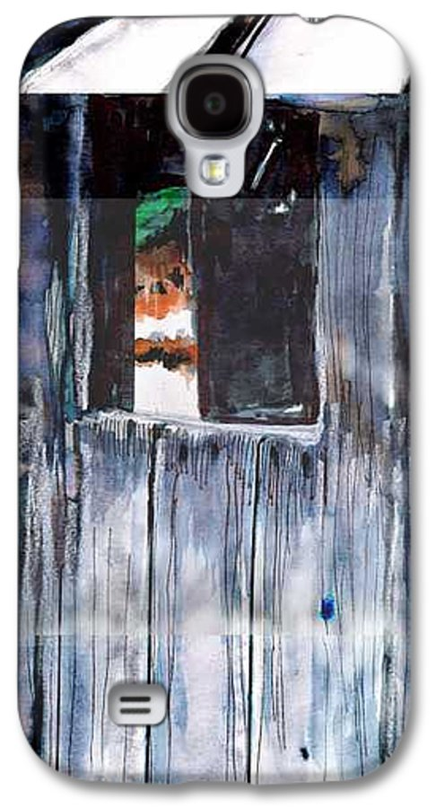 An Old Mysterious Barn With Deep Dark Shadows And Secrets. Rustic And Moody. Galaxy S4 Case featuring the drawing Thru The Barn Window by Seth Weaver