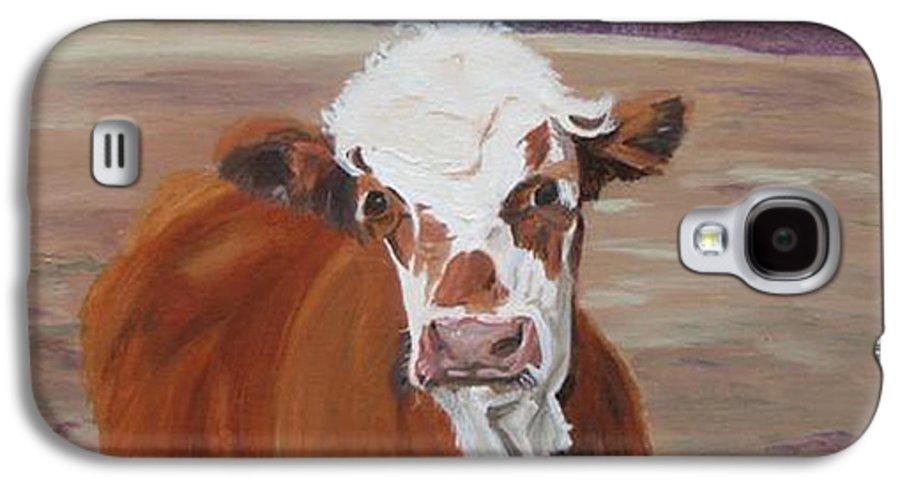 Cow Calf Farmscene Galaxy S4 Case featuring the painting Tiffany by Paula Emery