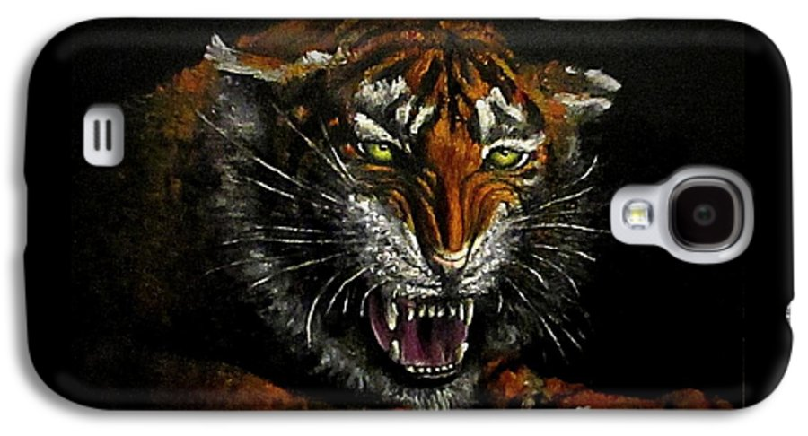 Animal Galaxy S4 Case featuring the painting Tiger-1 Original Oil Painting by Natalja Picugina