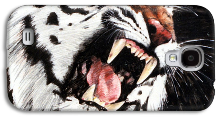 Tiger Roaring Galaxy S4 Case featuring the painting Tiger by John Lautermilch
