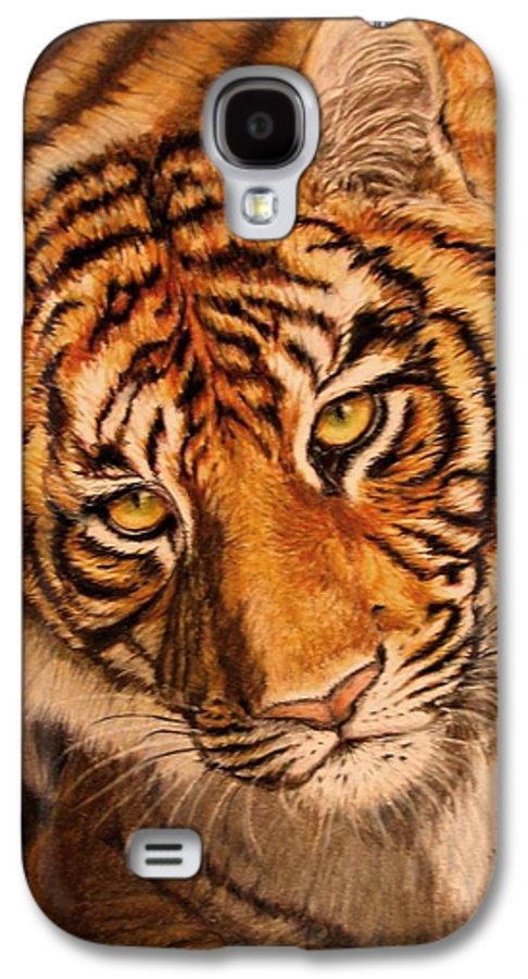 Tiger Galaxy S4 Case featuring the drawing Tiger by Karen Ilari