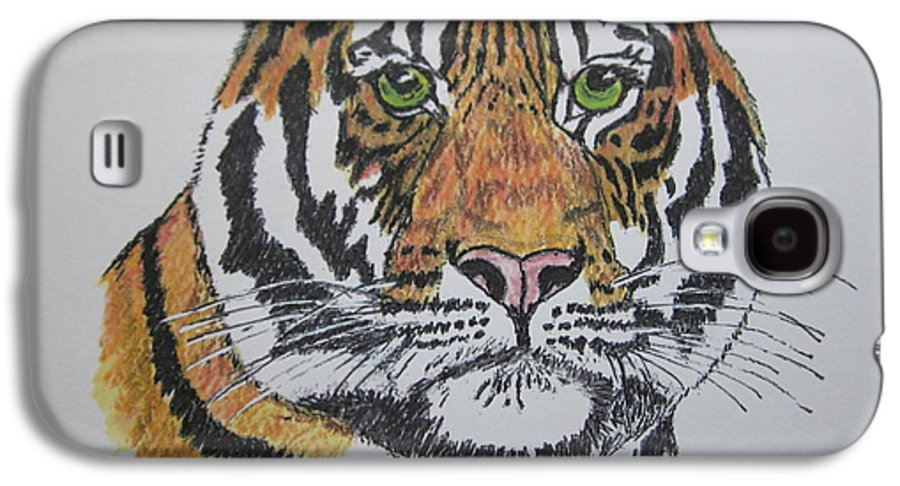 Bengal Galaxy S4 Case featuring the painting Tiger by Kathy Marrs Chandler