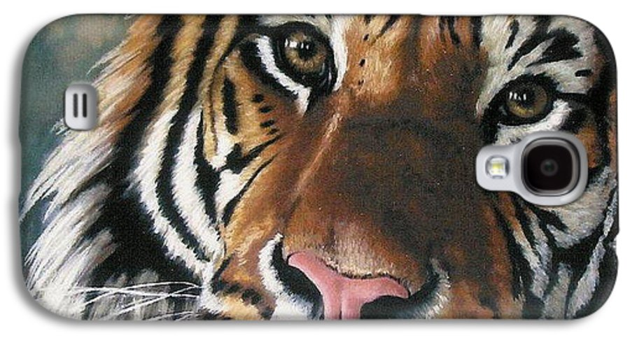 Tiger Galaxy S4 Case featuring the pastel Tigger by Barbara Keith