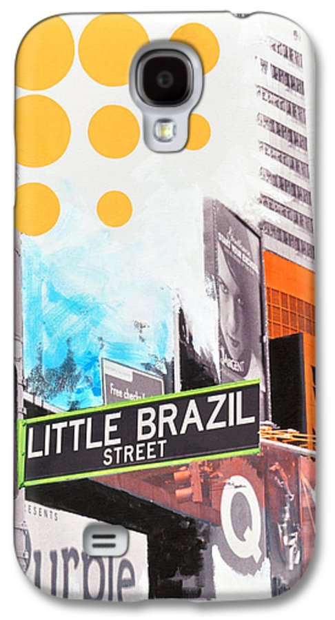 Ny Galaxy S4 Case featuring the painting Times Square Little Brazil by Jean Pierre Rousselet