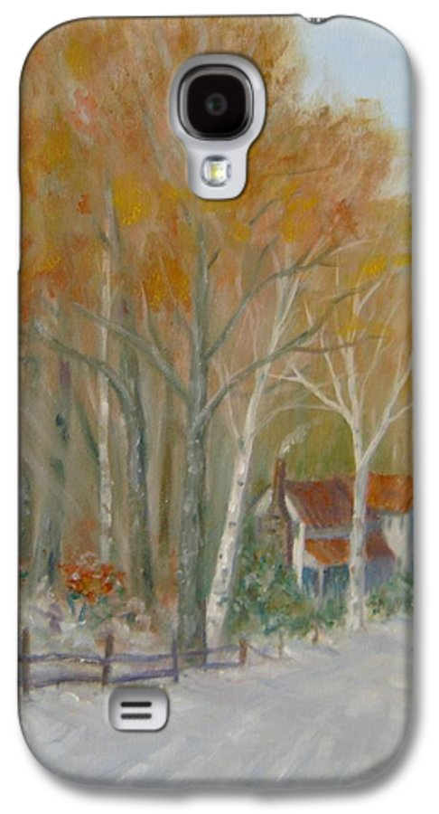 Country Road; House; Snow Galaxy S4 Case featuring the painting To Grandma's House by Ben Kiger