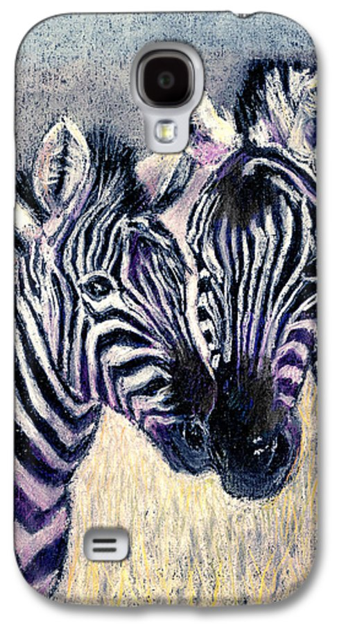 Zebras Galaxy S4 Case featuring the pastel Together by Arline Wagner