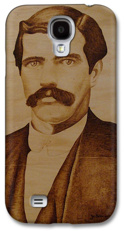 Pyrography; Woodburning; Sepia; Old West; Sheriff; Galaxy S4 Case featuring the pyrography Tom Smith by Jo Schwartz