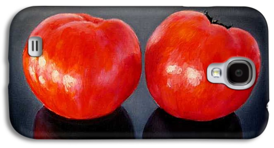 Tomatoes Galaxy S4 Case featuring the painting Tomatoes Original Oil Painting by Natalja Picugina