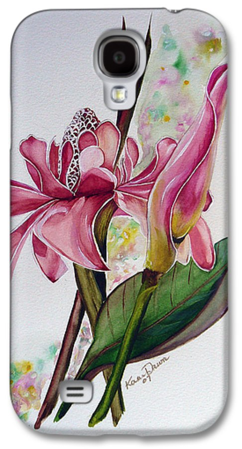 Flower Painting Floral Painting Botanical Painting Flowering Ginger. Galaxy S4 Case featuring the painting Torch Ginger Lily by Karin Dawn Kelshall- Best