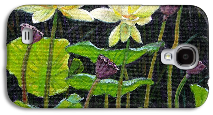 Lotus Galaxy S4 Case featuring the painting Touching Lotus Blooms by John Lautermilch