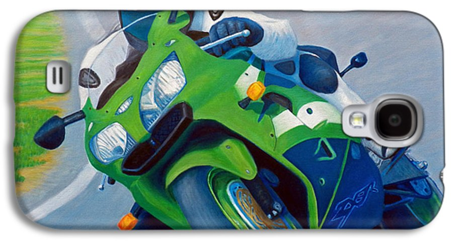 Motorcycle Galaxy S4 Case featuring the painting Track Day - Kawasaki Zx9 by Brian Commerford