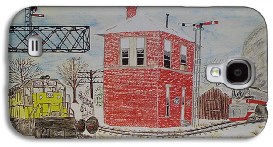 Train Galaxy S4 Case featuring the painting Trains In Motion by Kathy Marrs Chandler