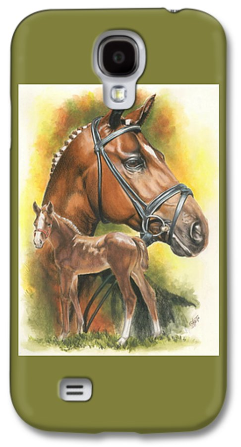 Jumper Hunter Galaxy S4 Case featuring the mixed media Trakehner by Barbara Keith