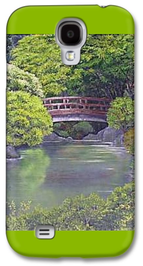This Peaceful Scene Is An Artist's Rendition Of The Japanese Gardens Galaxy S4 Case featuring the painting Tranquility by Darla Boljat