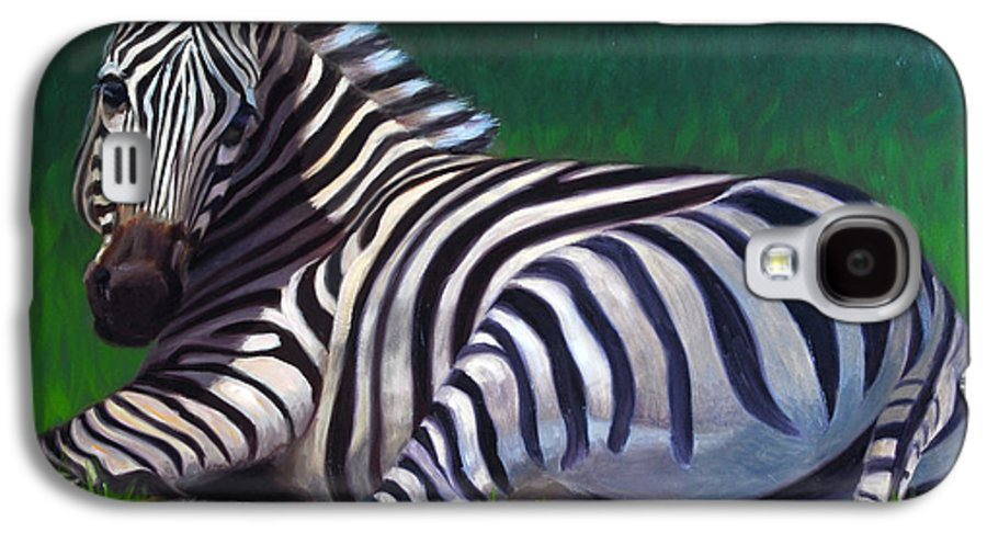 Zebra Galaxy S4 Case featuring the painting Tranquility by Greg Neal
