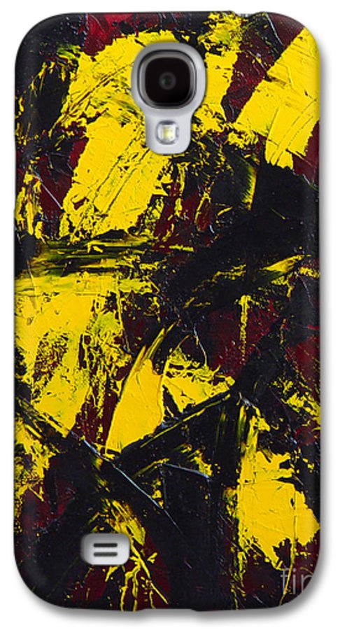 Abstract Galaxy S4 Case featuring the painting Transitions With Yelllow And Black by Dean Triolo
