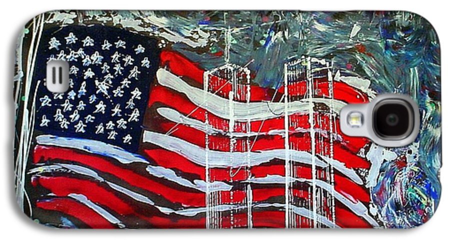 American Flag Galaxy S4 Case featuring the mixed media Tribute by J R Seymour