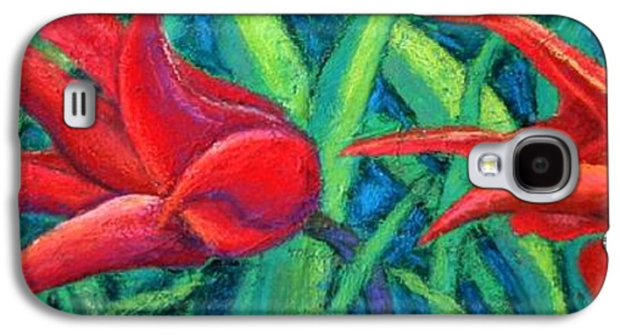 Tulips Galaxy S4 Case featuring the painting Triple Tease Tulips by Minaz Jantz