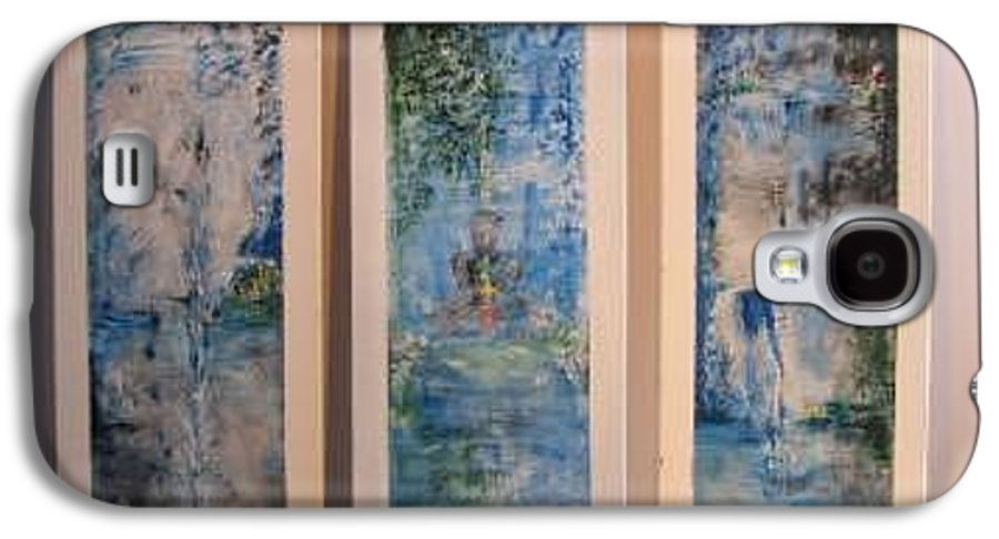 Meditation Galaxy S4 Case featuring the painting Triptych Spiritual Meditation by Lizzy Forrester