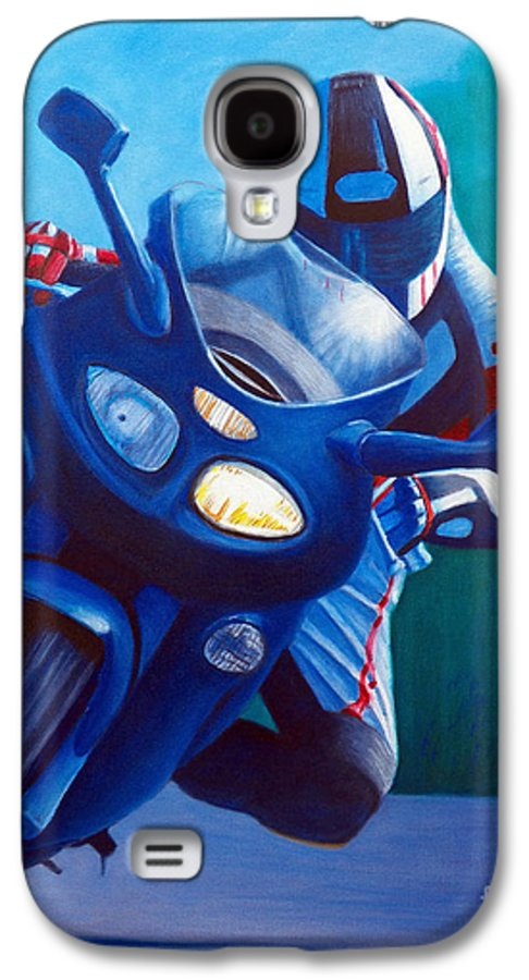 Motorcycle Galaxy S4 Case featuring the painting Triumph Sprint - Franklin Canyon by Brian Commerford