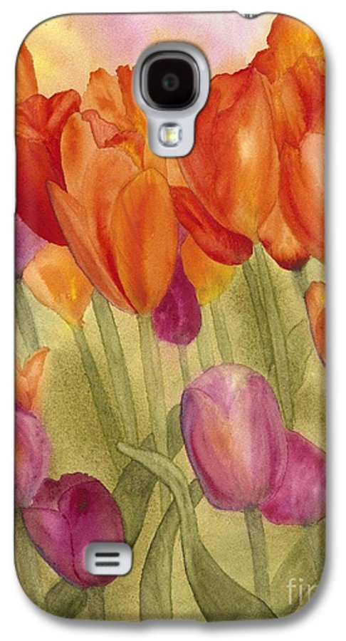 Tulips Galaxy S4 Case featuring the painting Tulip Glory by Louise Magno
