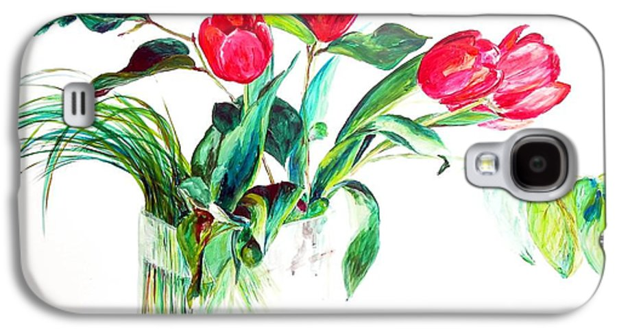 Flower Galaxy S4 Case featuring the painting Tulipes by Muriel Dolemieux