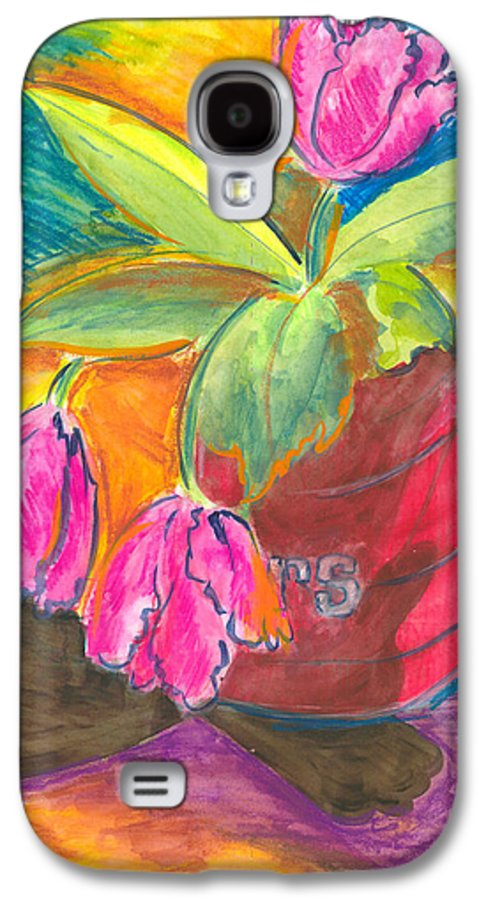 Flowers Galaxy S4 Case featuring the painting Tulips In Can by Jean Blackmer