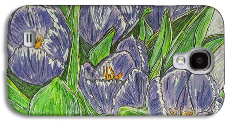 Tulips Galaxy S4 Case featuring the painting Tulips In The Spring by Kathy Marrs Chandler