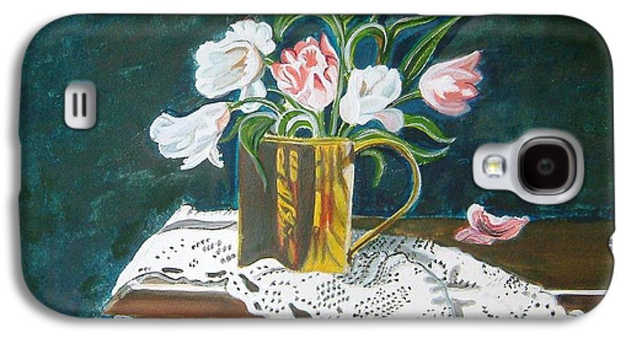 Tulips Galaxy S4 Case featuring the painting Tulips by Manjiri Kanvinde