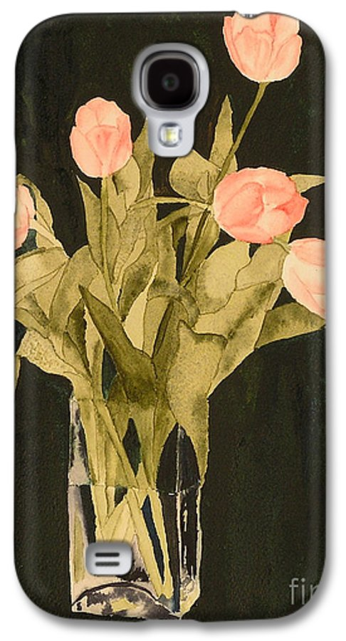 Tulips Galaxy S4 Case featuring the painting Tulips On Velvet by Louise Magno