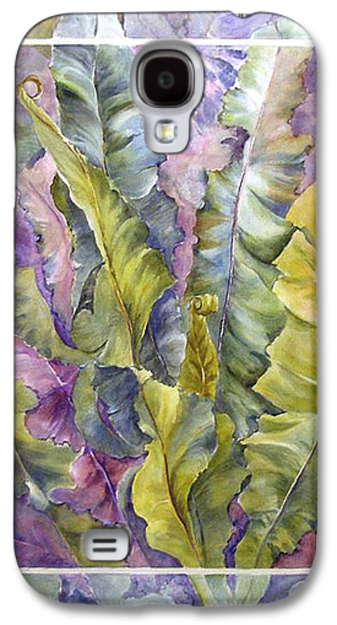 Ferns;floral; Galaxy S4 Case featuring the painting Turns Of Ferns by Lois Mountz