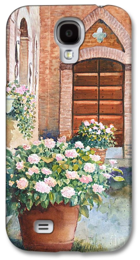 Tuscan Galaxy S4 Case featuring the painting Tuscan Courtyard by Ann Cockerill