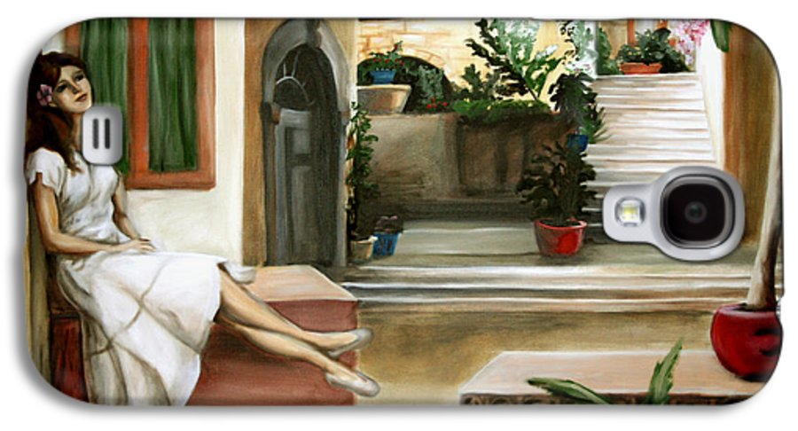 Portrait Galaxy S4 Case featuring the painting Tuscan Courtyard by Maryn Crawford