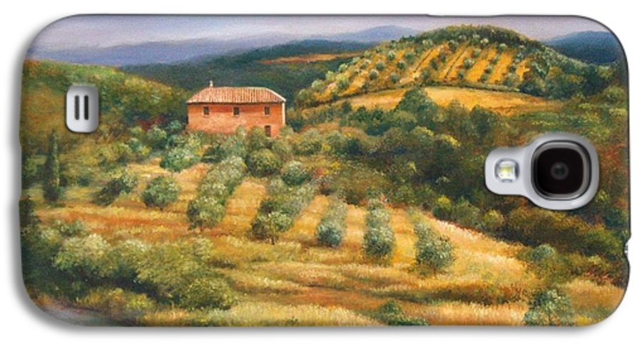 Landscape Galaxy S4 Case featuring the painting Tuscan Summer by Ann Cockerill