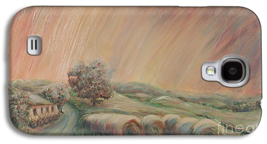 Landscape Galaxy S4 Case featuring the painting Tuscany Hayfields by Nadine Rippelmeyer