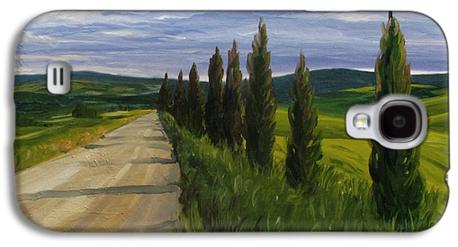Galaxy S4 Case featuring the painting Tuscany Road by Jay Johnson