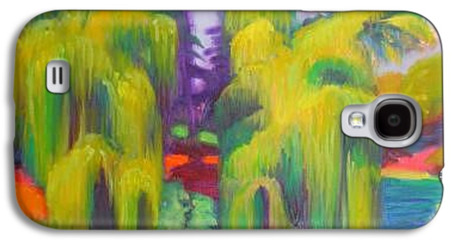 Landscape Galaxy S4 Case featuring the painting Twin Willows Chicago Botanical Gardens by David Dozier