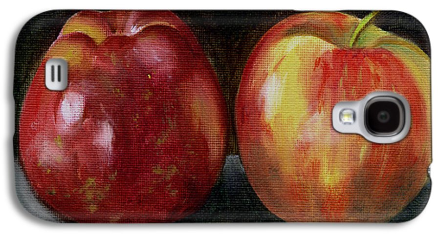 Oil Galaxy S4 Case featuring the painting Two Apples by Sarah Lynch