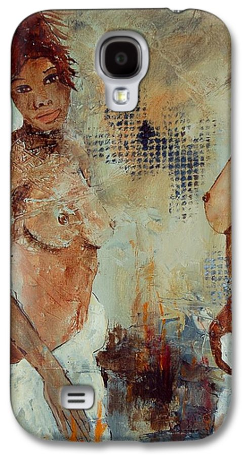 Girl Nude Galaxy S4 Case featuring the painting Two Black Sisters by Pol Ledent