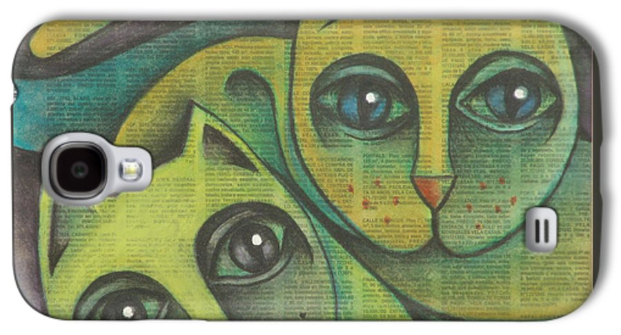 Sacha Circulism Circulismo Galaxy S4 Case featuring the drawing Two Cats 2000 by S A C H A - Circulism Technique