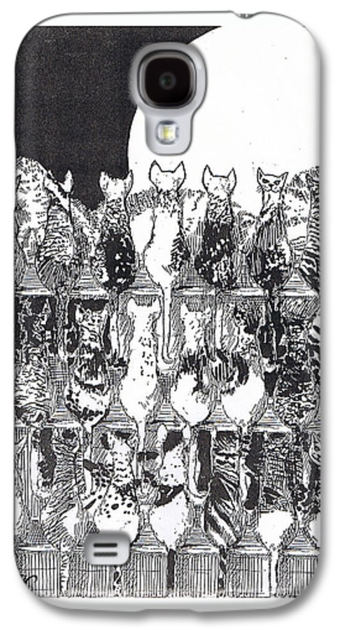 Cats Galaxy S4 Case featuring the drawing Two Dozen And One Cats by Seth Weaver