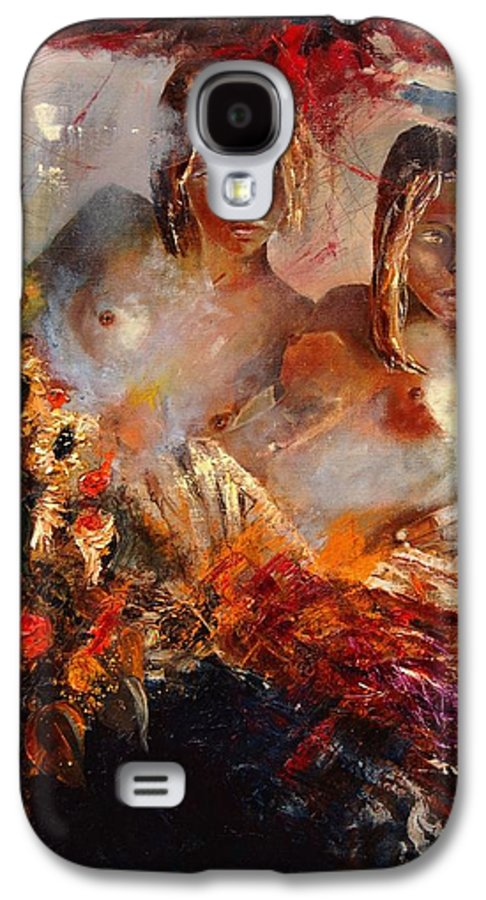 Girl Nude Galaxy S4 Case featuring the painting Two Friends by Pol Ledent